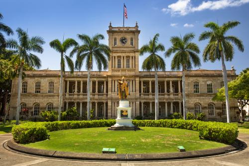 Exterior of Ali'iolani Hale (Hawaii State Supreme Court) in Honolulu, Oahu, Hawaii
