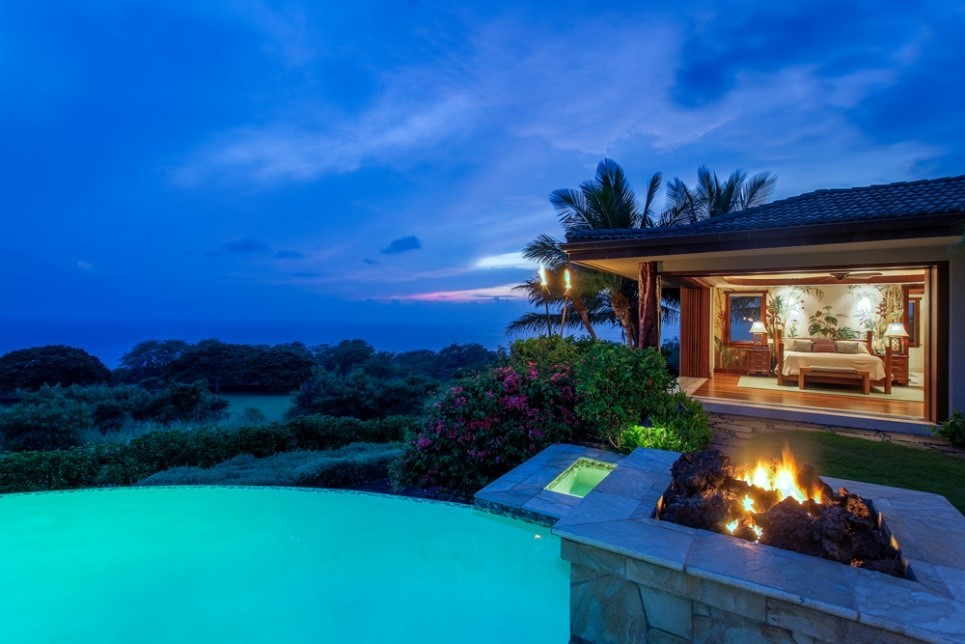 Hawaii architects house with a firepit and pool.